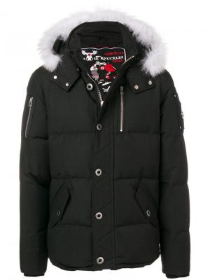 Fur hood trim padded jacket Moose Knuckles. Цвет: черный