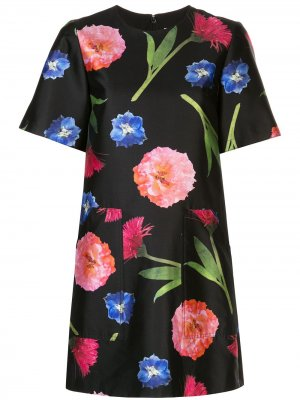 Платье-футболка с цветочным принтом Carolina Herrera. Цвет: черный