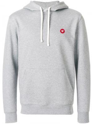 Embroidered logo hoodie Wood. Цвет: серый