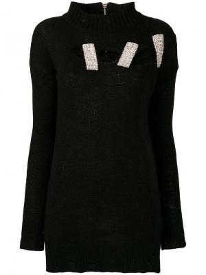 Рваный вязаный свитер с декором из стразов Marco Bologna. Цвет: черный
