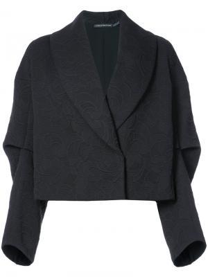 Укороченный пиджак с воротником-шалькой Josie Natori. Цвет: черный