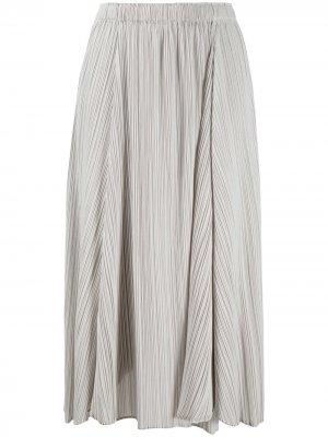 Плиссированная юбка с эластичным поясом Pleats Please Issey Miyake. Цвет: серый