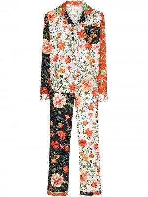 Пижама Persephone с цветочным принтом Desmond & Dempsey. Цвет: оранжевый