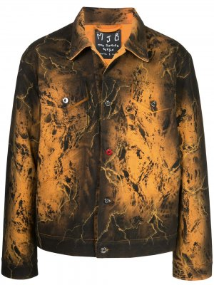 Джинсовая куртка Pax с принтом тай-дай MJB Marc Jacques Burton. Цвет: черный