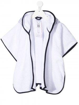 Халат с капюшоном и графичным принтом Emporio Armani Kids. Цвет: белый
