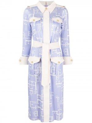 Платье-рубашка с логотипом Elisabetta Franchi. Цвет: фиолетовый