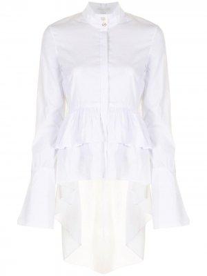 Рубашка с оборками Caroline Constas. Цвет: белый