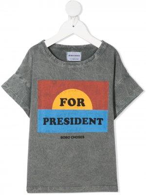 Футболка с принтом For President Bobo Choses. Цвет: серый