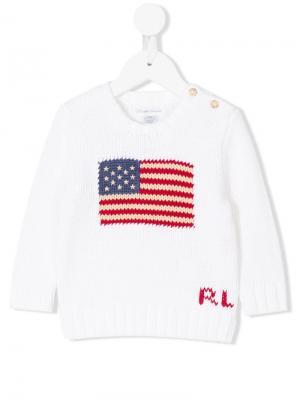Свитер с флагом США Ralph Lauren Kids. Цвет: белый