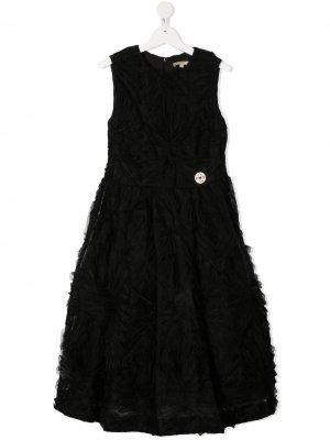 Платье с оборками ELIE SAAB JUNIOR. Цвет: черный