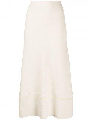 Расклешенная юбка миди с завышенной талией Victoria Beckham. Цвет: белый