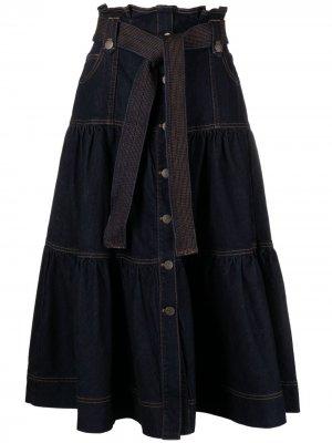 Ярусное джинсовое платье Reine Ulla Johnson. Цвет: синий