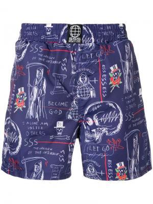 Пляжные шорты с принтом Sss World Corp. Цвет: синий