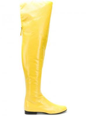 Виниловые сапоги Alberta Ferretti. Цвет: желтый