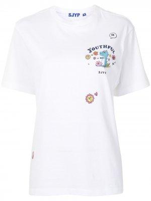 Футболка Flower Play Dino SJYP. Цвет: белый