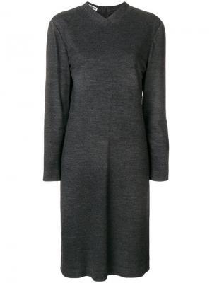 Вязаное платье с длинным рукавом Jil Sander Vintage. Цвет: серый