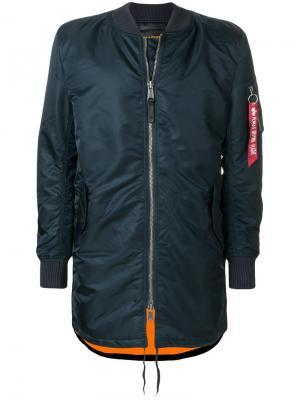 Удлиненная куртка-бомбер Alpha Industries. Цвет: синий