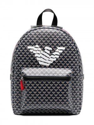 Рюкзак с логотипом Emporio Armani Kids. Цвет: синий