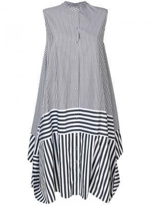 Расклешенное платье в полоску Ports 1961. Цвет: черный