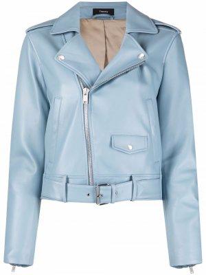 Укороченная байкерская куртка Theory. Цвет: синий