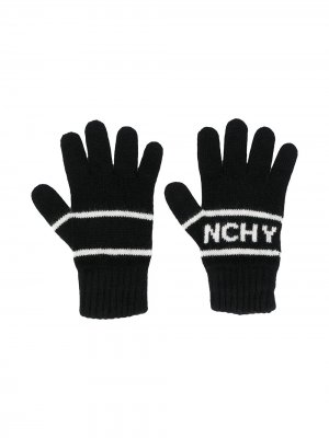 Перчатки с вышитым логотипом Givenchy Kids. Цвет: черный