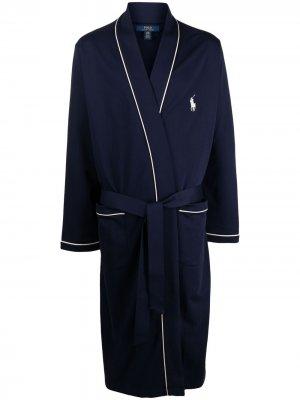 Халат с логотипом Polo Ralph Lauren. Цвет: синий