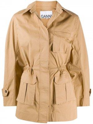 Куртка с карманами карго и длинными рукавами GANNI. Цвет: нейтральные цвета