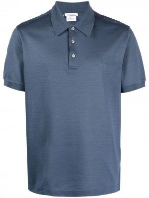 Рубашка поло с вышитым логотипом Brioni. Цвет: синий