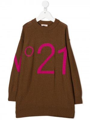 Трикотажное платье с логотипом Nº21 Kids. Цвет: коричневый