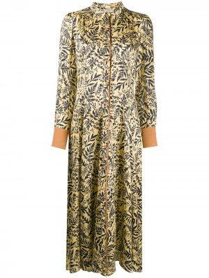 Платье-рубашка с цветочным принтом Forte. Цвет: желтый