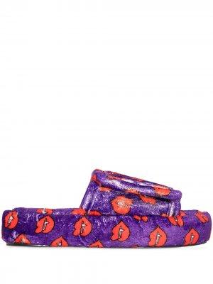 Шлепанцы на липучках с принтом Natasha Zinko. Цвет: фиолетовый