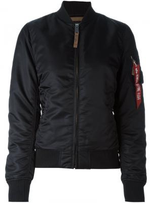Куртка-бомбер Alpha Industries. Цвет: черный