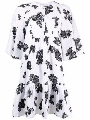 Платье с цветочным принтом Erdem. Цвет: белый