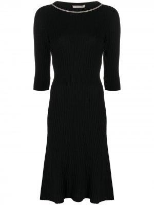 Платье миди в рубчик с отделкой на воротнике D.Exterior. Цвет: черный