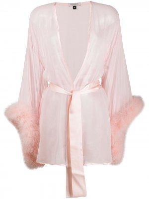 Халат Diana с перьями Gilda & Pearl. Цвет: розовый