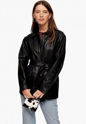 Куртка кожаная Topshop Petite. Цвет: черный