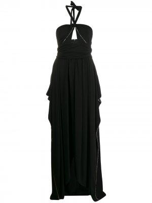 Декорированное вечернее платье с вырезом халтер Amen. Цвет: черный