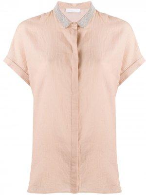 Рубашка свободного кроя со стразами Fabiana Filippi. Цвет: оранжевый