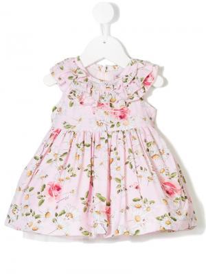Платье с цветочным принтом Monnalisa. Цвет: розовый