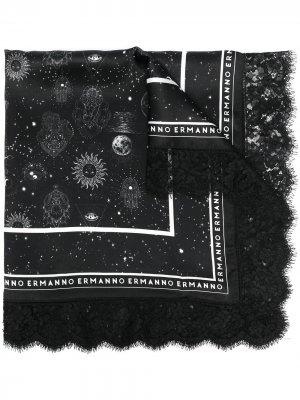 Шарф с принтом Ermanno. Цвет: черный