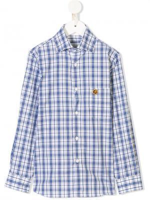 Клетчатая рубашка с длинными рукавами Stefano Ricci Kids. Цвет: синий