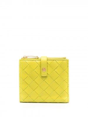 Маленький кошелек с плетением Intrecciato Bottega Veneta. Цвет: зеленый