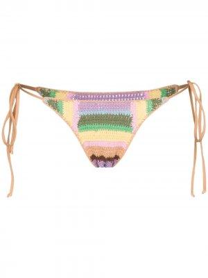 Плавки бикини в технике кроше Frankies Bikinis. Цвет: синий