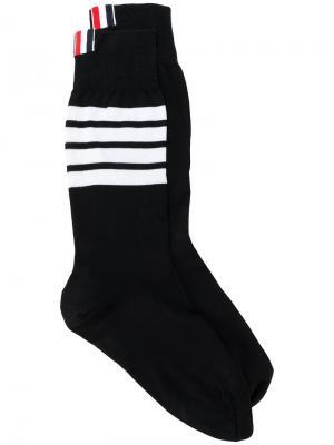Носки с полосками 4-Bar Thom Browne. Цвет: черный