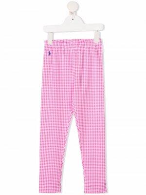 Клетчатые легинсы с эластичным поясом Ralph Lauren Kids. Цвет: розовый