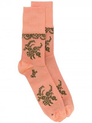 Жаккардовые носки с цветочным узором Simone Rocha. Цвет: розовый