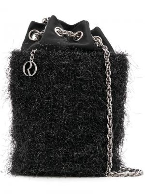 Атласная сумка модели ведро с мишурой Rodo. Цвет: черный