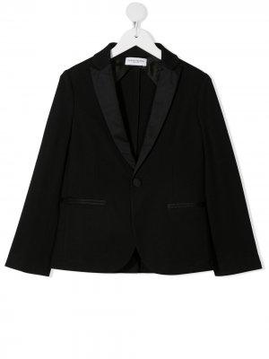 Однобортный пиджак с атласными лацканами Paolo Pecora Kids. Цвет: черный