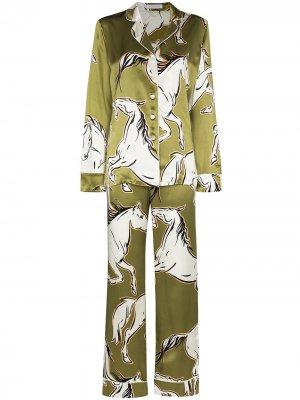 Пижама Lila Chevalier с принтом Olivia von Halle. Цвет: зеленый