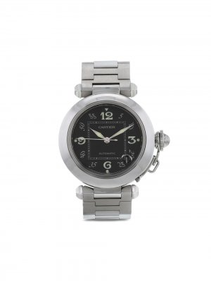 Наручные часы Pasha pre-owned 35 мм 1990-го года Cartier. Цвет: черный